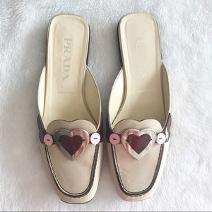 Prada Leather Heart Slip on Mules